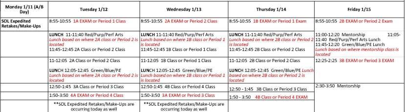 EXAM schedule - Fall Testing Schedule (2)